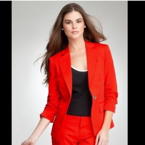 Bebe Work Suit Jacket Red One Button Closure